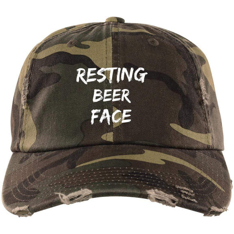 Resting Beer Face District Distressed Dad Cap Hats CustomCat Military Camo One Size