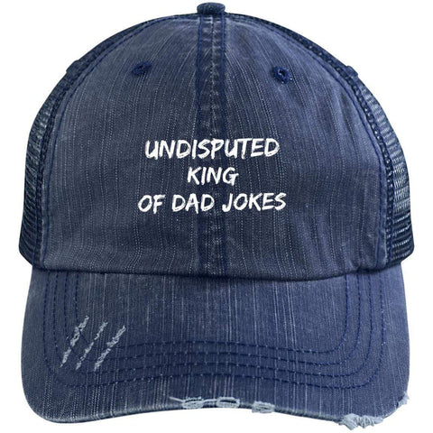 King of Dad Jokes Distressed Unstructured Trucker Cap Hats CustomCat Navy/Navy One Size