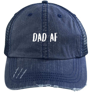 Dad AF Distressed Unstructured Trucker Cap Hats CustomCat Navy/Navy One Size