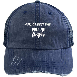 Pull My Finger Distressed Unstructured Trucker Cap Hats CustomCat Navy/Navy One Size