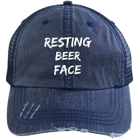 Resting Beer Face Distressed Unstructured Trucker Cap Hats CustomCat Navy/Navy One Size