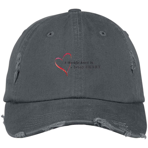A Thankful Heart District Distressed Dad Cap Hats CustomCat Nickel One Size