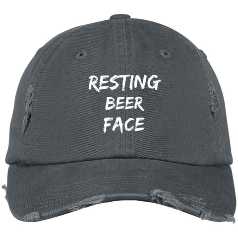 Resting Beer Face District Distressed Dad Cap Hats CustomCat Nickel One Size