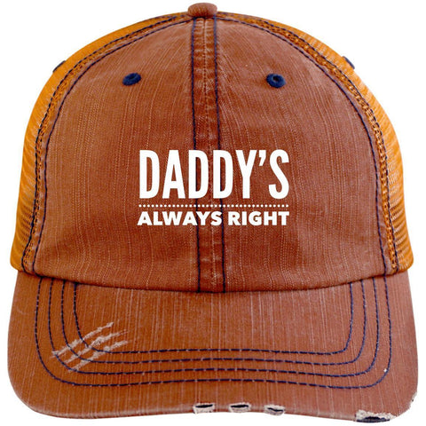 Daddy's Always Right Distressed Unstructured Trucker Cap Hats CustomCat Orange/Navy One Size