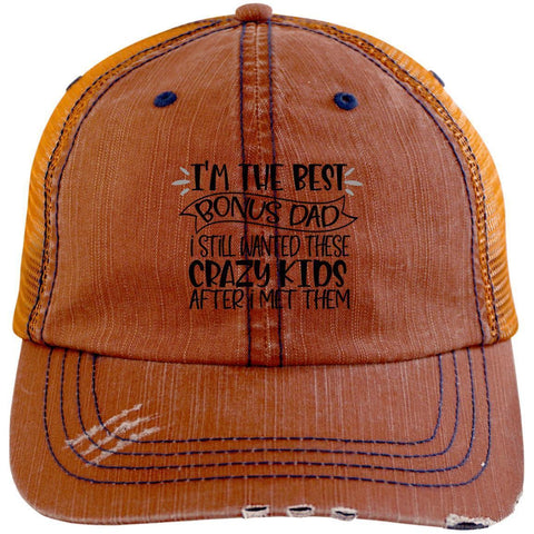 Best Bonus Dad Distressed Unstructured Trucker Cap Hats CustomCat Orange/Navy One Size