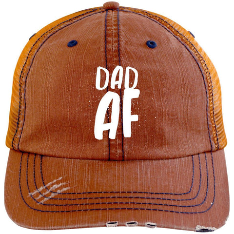 Dad AF Distressed Unstructured Trucker Cap Hats CustomCat Orange/Navy One Size