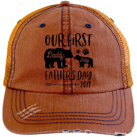 First Father's Day Distressed Unstructured Trucker Cap Hats CustomCat Orange/Navy One Size