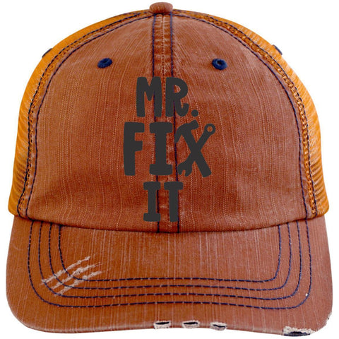 Mr. Fix It Distressed Unstructured Trucker Cap Hats CustomCat Orange/Navy One Size
