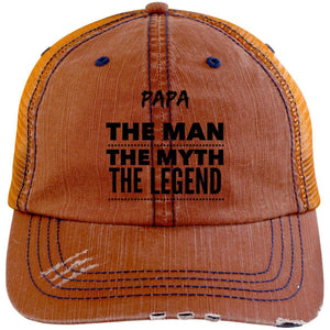 Papa the Man the Myth the Legend Distressed Unstructured Trucker Cap Hats CustomCat Orange/Navy One Size
