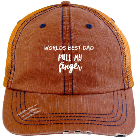Pull My Finger Distressed Unstructured Trucker Cap Hats CustomCat Orange/Navy One Size