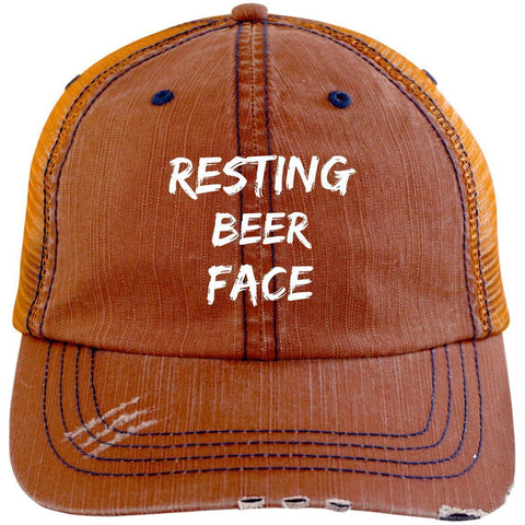 Resting Beer Face Distressed Unstructured Trucker Cap Hats CustomCat Orange/Navy One Size