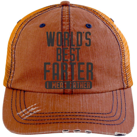 World's Best Farter 2 Distressed Unstructured Trucker Cap Hats CustomCat Orange/Navy One Size