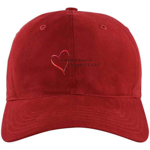 A Thankful Heart Unstructured Cresting Cap Hats CustomCat Power Red One Size