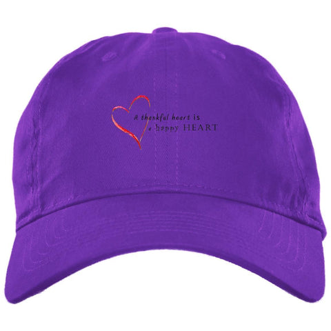 A Thankful Heart Brushed Twill Unstructured Dad Cap Hats CustomCat Purple One Size