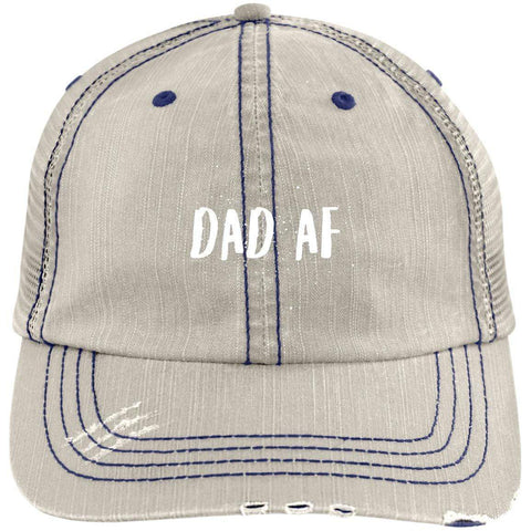 Dad AF Distressed Unstructured Trucker Cap Hats CustomCat Putty/Navy One Size