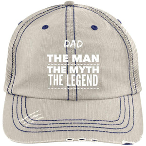 Dad the Man the Myth the Legend Distressed Unstructured Trucker Cap Hats CustomCat Putty/Navy One Size