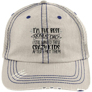 Best Bonus Dad Distressed Unstructured Trucker Cap Hats CustomCat Putty/Navy One Size