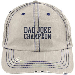 Dad Joke Champion Distressed Unstructured Trucker Cap Hats CustomCat Putty/Navy One Size