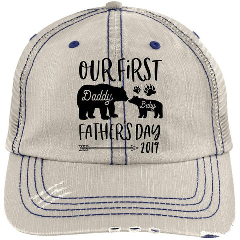 First Father's Day Distressed Unstructured Trucker Cap Hats CustomCat Putty/Navy One Size