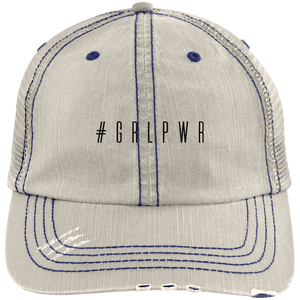 #GRLPWR Distressed Unstructured Trucker Cap Hats CustomCat Putty/Navy One Size
