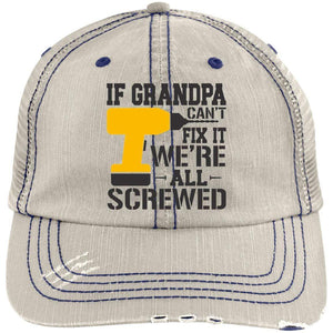 If Grandpa Can't Fix It Distressed Unstructured Trucker Cap Hats CustomCat Putty/Navy One Size