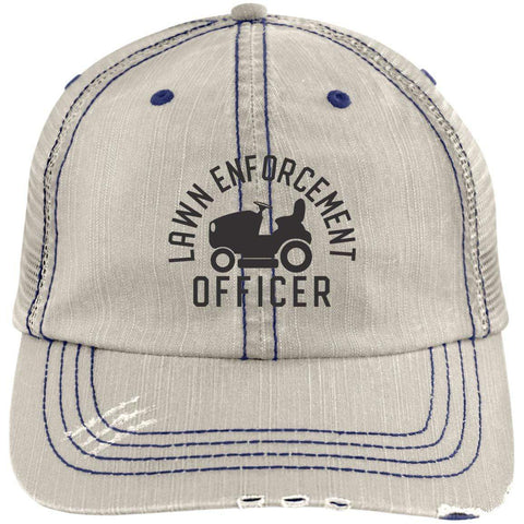 Lawn Enforcement Officer Distressed Unstructured Trucker Cap Hats CustomCat Putty/Navy One Size