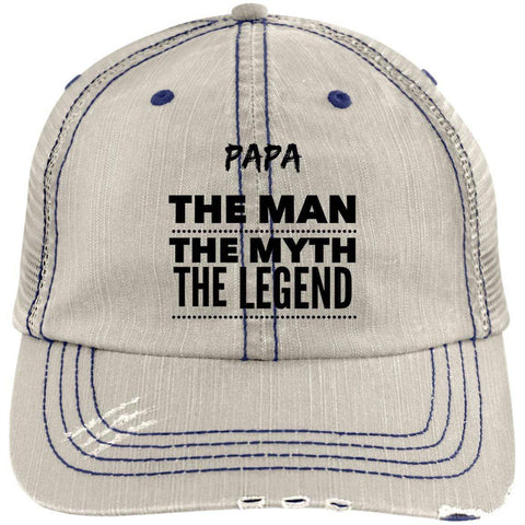 Papa the Man the Myth the Legend Distressed Unstructured Trucker Cap Hats CustomCat Putty/Navy One Size