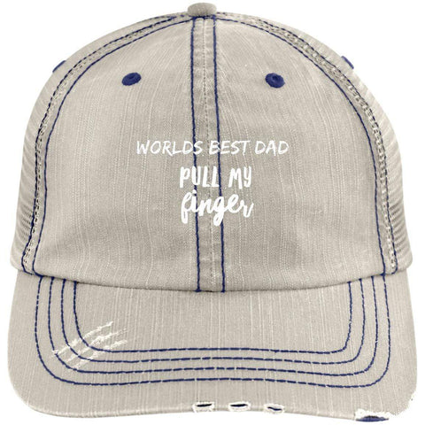 Pull My Finger Distressed Unstructured Trucker Cap Hats CustomCat Putty/Navy One Size