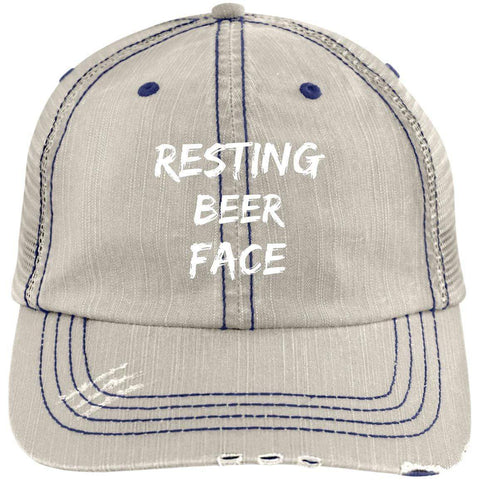 Resting Beer Face Distressed Unstructured Trucker Cap Hats CustomCat Putty/Navy One Size