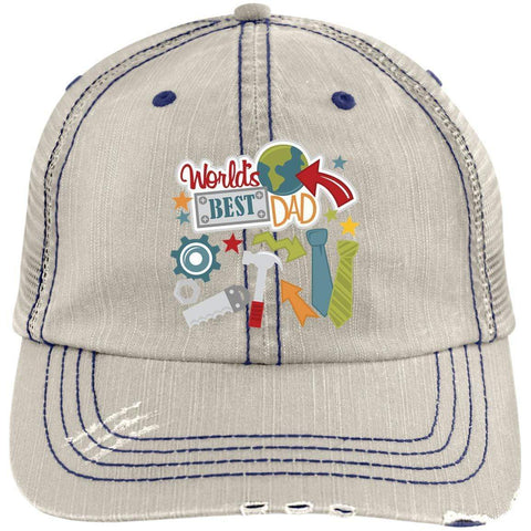 World's Best Dad Distressed Unstructured Trucker Cap Hats CustomCat Putty/Navy One Size