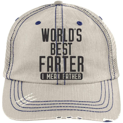 World's Best Farter 2 Distressed Unstructured Trucker Cap Hats CustomCat Putty/Navy One Size