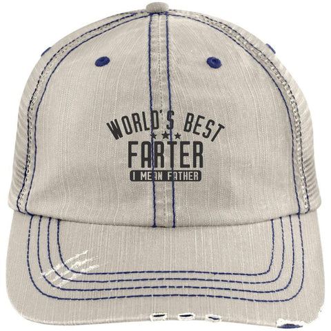 World's Best Farter Distressed Unstructured Trucker Cap Hats CustomCat Putty/Navy One Size