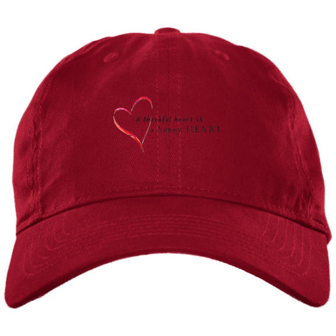 A Thankful Heart Brushed Twill Unstructured Dad Cap Hats CustomCat Red One Size