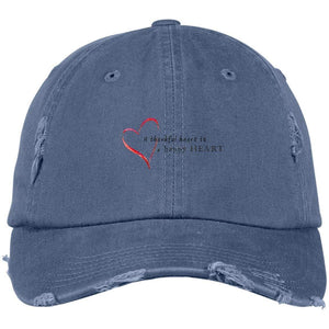 A Thankful Heart District Distressed Dad Cap Hats CustomCat Scotland Blue One Size