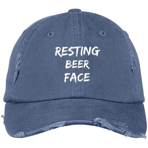 Resting Beer Face District Distressed Dad Cap Hats CustomCat Scotland Blue One Size