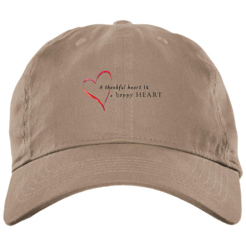 A Thankful Heart Brushed Twill Unstructured Dad Cap Hats CustomCat Stone One Size