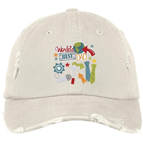World's Best Dad District Distressed Dad Cap Hats CustomCat Stone One Size