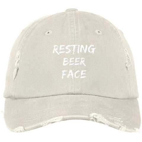 Resting Beer Face District Distressed Dad Cap Hats CustomCat Stone One Size