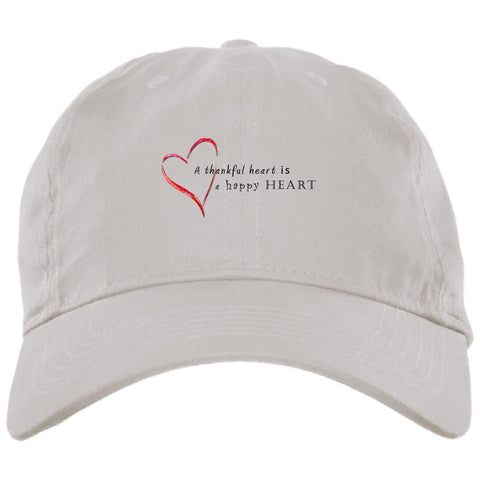 A Thankful Heart Brushed Twill Unstructured Dad Cap Hats CustomCat White One Size