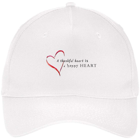 A Thankful Heart Port & Co. Five Panel Twill Cap Hats CustomCat White One Size