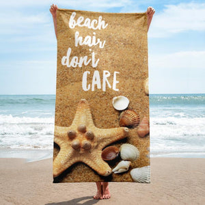 Beach Hair Don't Care 2 Beach Towel - 37x74 Towels CustomCat White One Size