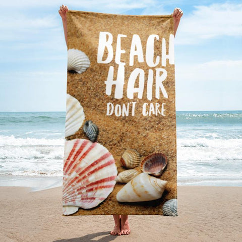 Beach Hair Don't Care Beach Towel - 37x74 Towels CustomCat White One Size