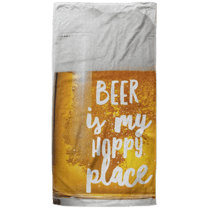 Beer is My Hoppy Place Beach Towel - 37x74 Towels CustomCat White One Size