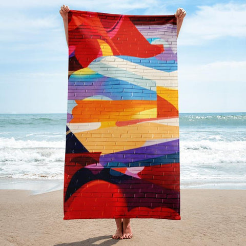 Brick Mural Beach Towel - 37x74 Towels CustomCat White One Size