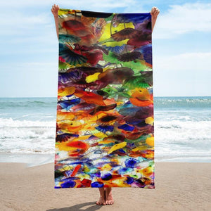 Colorful Shapes Beach Towel - 37x74 Towels CustomCat White One Size