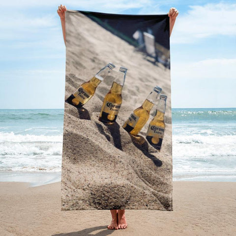 Coronas in the Sand Beach Towel - 37x74 Towels CustomCat White One Size
