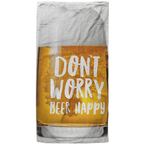 Don't Worry Beer Happy Beach Towel - 37x74 Towels CustomCat White One Size