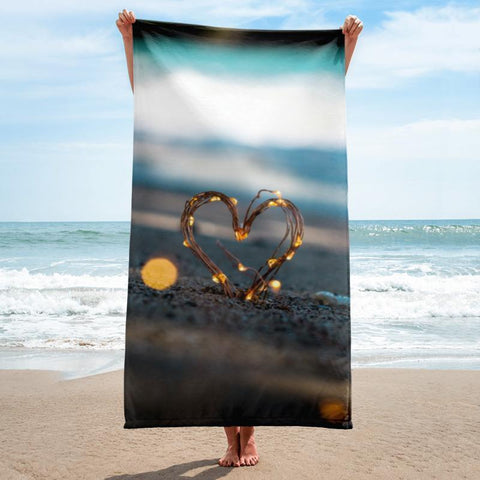 Heart in Sand Beach Towel - 37x74 Towels CustomCat White One Size