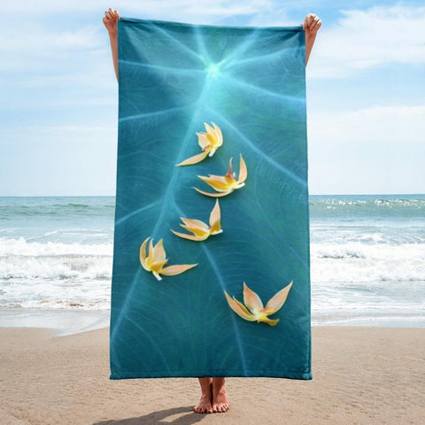 Petals Beach Towel - 37x74 Towels CustomCat White One Size