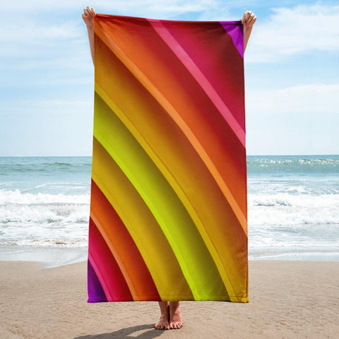 Rainbow Beach Towel - 37x74 Towels CustomCat White One Size
